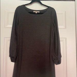 LOFT bubble sleeve gray sweater dress